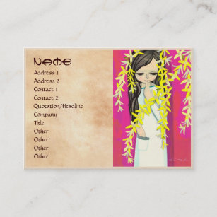 Kawaii girls business cards zazzle au ikeda shuzo flower curtain young kawaii girl business card colourmoves