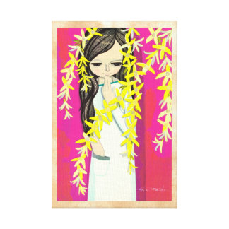 Ikeda Shuzo Flower Curtain young kawaii girl Stretched Canvas Print