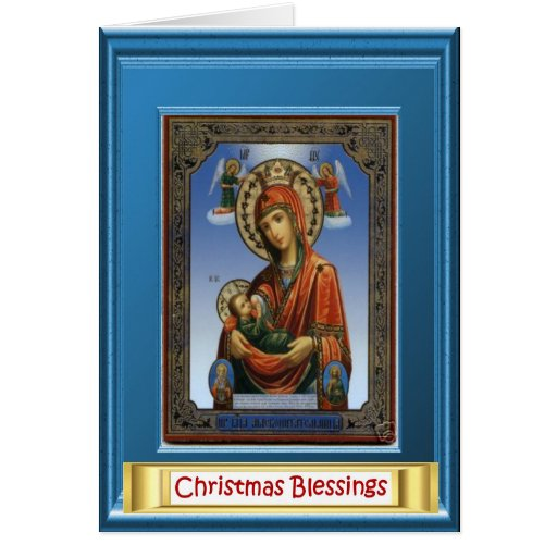 Ikon of Mary and the child Jesus Card