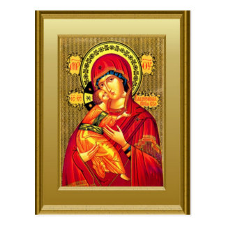 Ikon of the Virgin Mary and the child Jesus Post Card