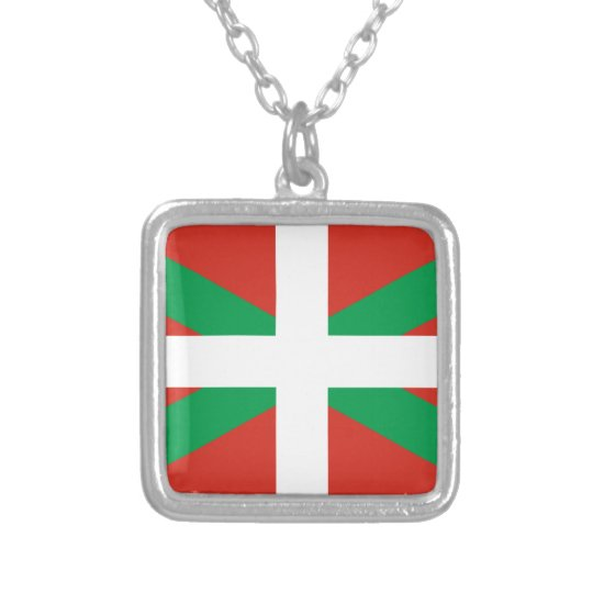 IKURRIÑA DRAPEAU BASQUE EUSKADI FLAG VASCA SILVER PLATED NECKLACE