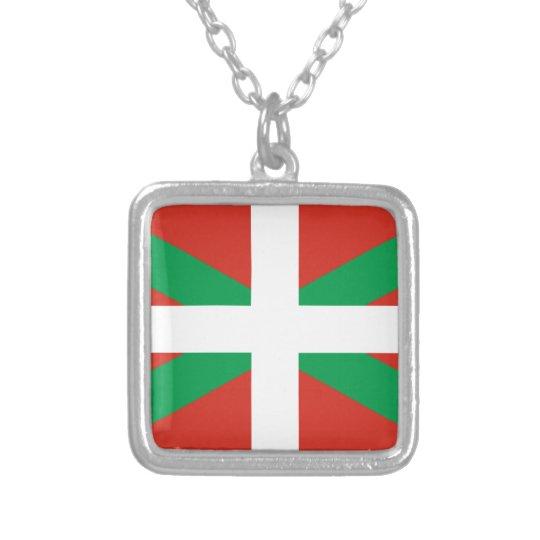 IKURRIÑA DRAPEAU BASQUE EUSKADI FLAG VASCA SILVER PLATED NECKLACE