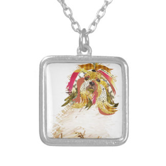 Il Love Lhasa apso Silver Plated Necklace