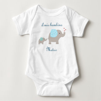 """il mio bambino"" baby bodysuit with elephants"