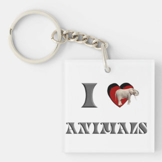 ILA elephant Single-Sided Square Acrylic Key Ring