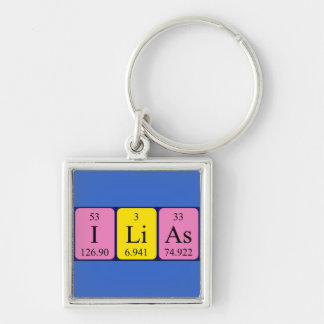 Ilias periodic table name keyring Silver-Colored square key ring