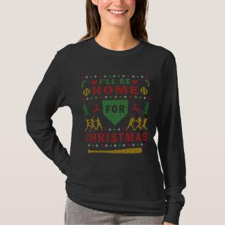I'll be Home Ugly Christmas Sweater Softball Shirt