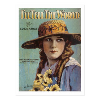 I'll Tell the World Vintage Songbook Cover Postcard