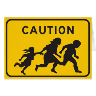 Illegal Aliens Crossing Highway Sign Card