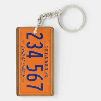 Illinois 1969 Vintage License Plate Keychain