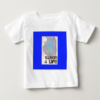 """""""Illinois 4 Life"""" State Map Pride Design Baby T-Shirt"""
