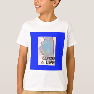 """Illinois 4 Life"" State Map Pride Design T-Shirt"