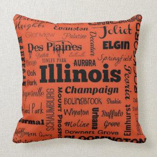 Illinois cities throw pillow in orange/black