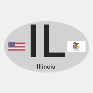 Illinois* Euro-Style Oval Sticker