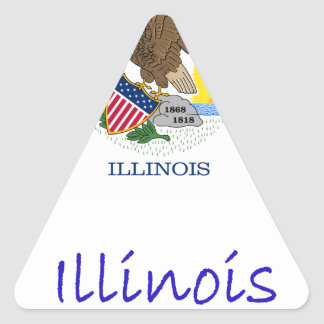 Illinois Flag And Name Triangle Sticker
