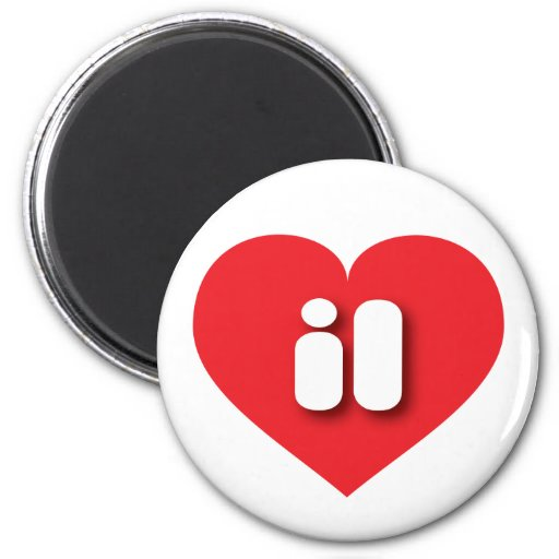Illinois il red heart magnets