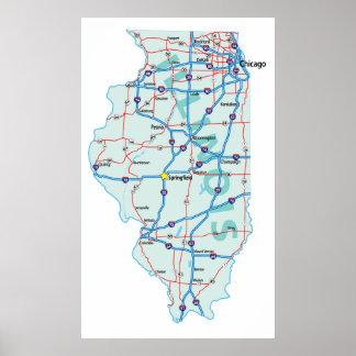 Illinois Interstate Map Print
