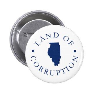 Illinois Land Of Corruption 6 Cm Round Badge