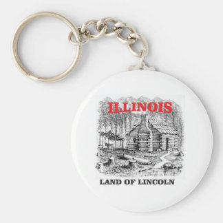 Illinois land of Lincoln Key Ring