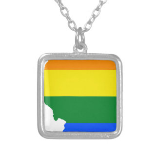 Illinois LGBT Flag Map Silver Plated Necklace