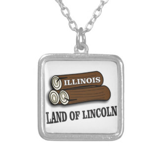 Illinois logs of Lincoln Silver Plated Necklace