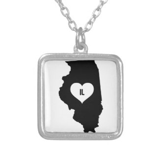 Illinois Love Silver Plated Necklace