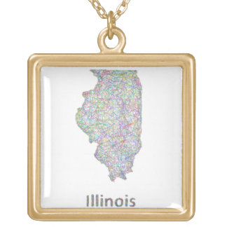 Illinois map gold plated necklace