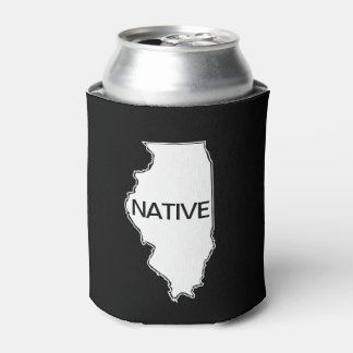 Illinois Native Black White Can Cooler