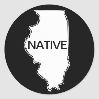 Illinois Native Black White Classic Round Sticker