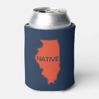Illinois Native Navy Orange Can Cooler