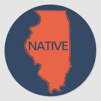 Illinois Native Navy Orange Classic Round Sticker