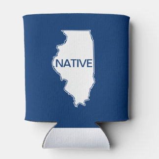 Illinois Native Red White Blue Can Cooler