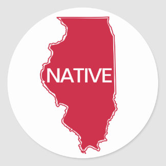 Illinois Native Red White Classic Round Sticker