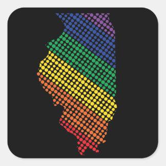 Illinois Rainbow State Square Sticker