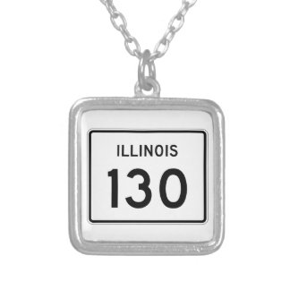 Illinois Route 130 Silver Plated Necklace