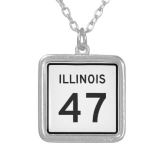 Illinois Route 47 Silver Plated Necklace