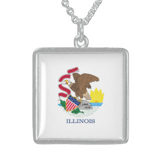 Illinois State Flag Design Sterling Silver Necklace