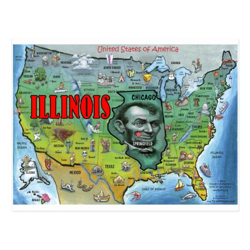 Illinois USA Map Postcard
