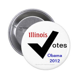 Illinois Votes Obama 2012 6 Cm Round Badge