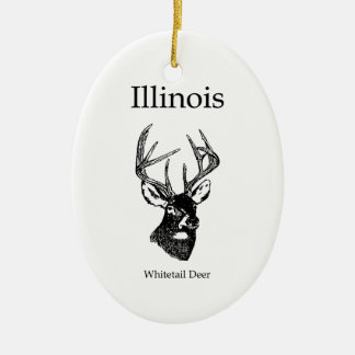 Illinois White Tail Deer Ceramic Ornament