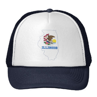 Illinoise State Flag and Map Trucker Hats