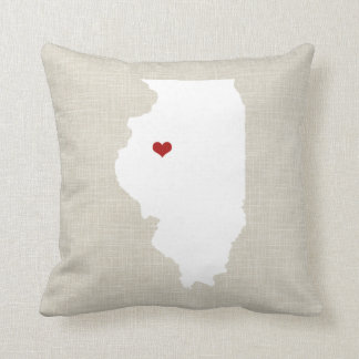Illinoise State Pillow Faux Linen Personalized