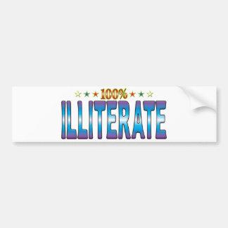Illiterate Star Tag v2 Bumper Stickers
