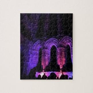 Illuminated abbey arches colourful jigsaw puzzle