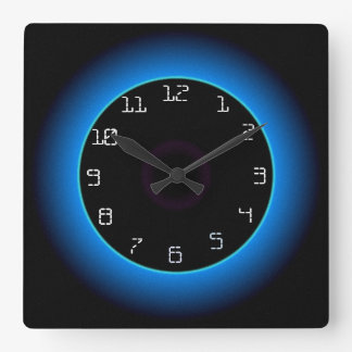 Illuminated Blue/Aqua on Black> Wall Clock