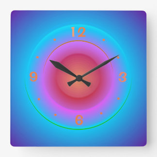 Illuminated Blue Aqua Orange Pink Rings>Wallclock Square Wall Clock