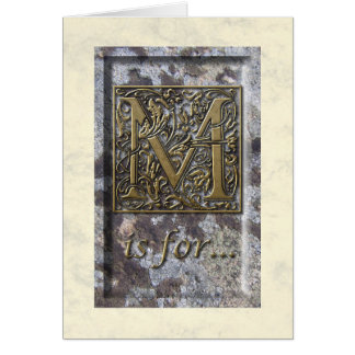 Illuminated Capital M Greeting Card