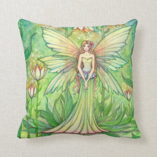 Illuminated Garden Fairy Fantasy Art Throw Pillow