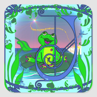 Illuminated Initial J with Cute Frog Sq. Stickers