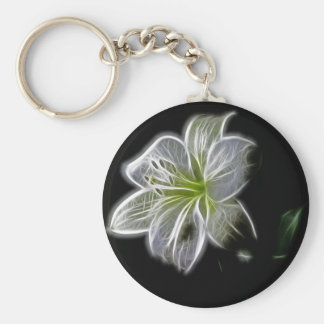 Illuminated like Outline of a White lily Flower Key Ring